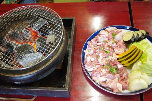 軍鶏炭火焼き定食